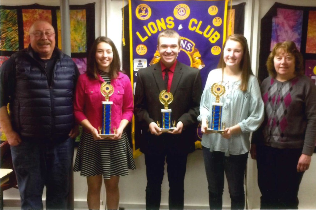 Lion Scott Foyt, left with the Monmouth Lions Club Speak-Out 2018 winners Kaitlin Hunt, Bryce Boulet and Nathalie Grandahl and Lion Cathy Foyt.