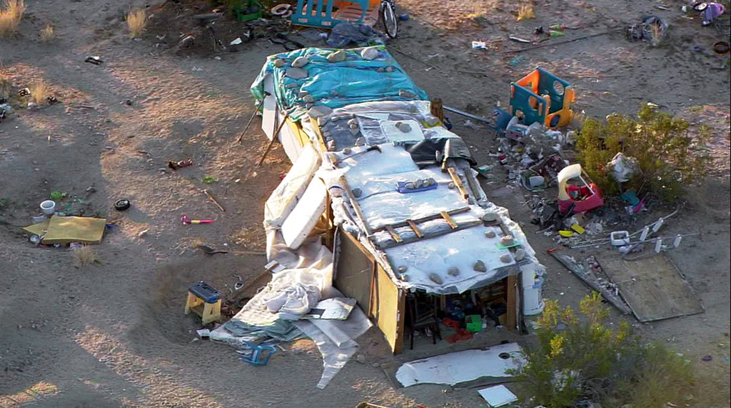 Aerial photo from video shows the ramshackle structure in unincorporated Joshua Tree in Southern California's Mojave Desert on Thursday.