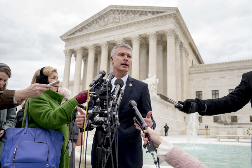 South Dakota Attorney General Marty Jackley speaks outside the U.S. Supreme Court after the court heard oral arguments on South Dakota v. Wayfair, which challenges a rule that has meant consumers don't get charged sales tax on some online purchases, on Tuesday in Washington.
