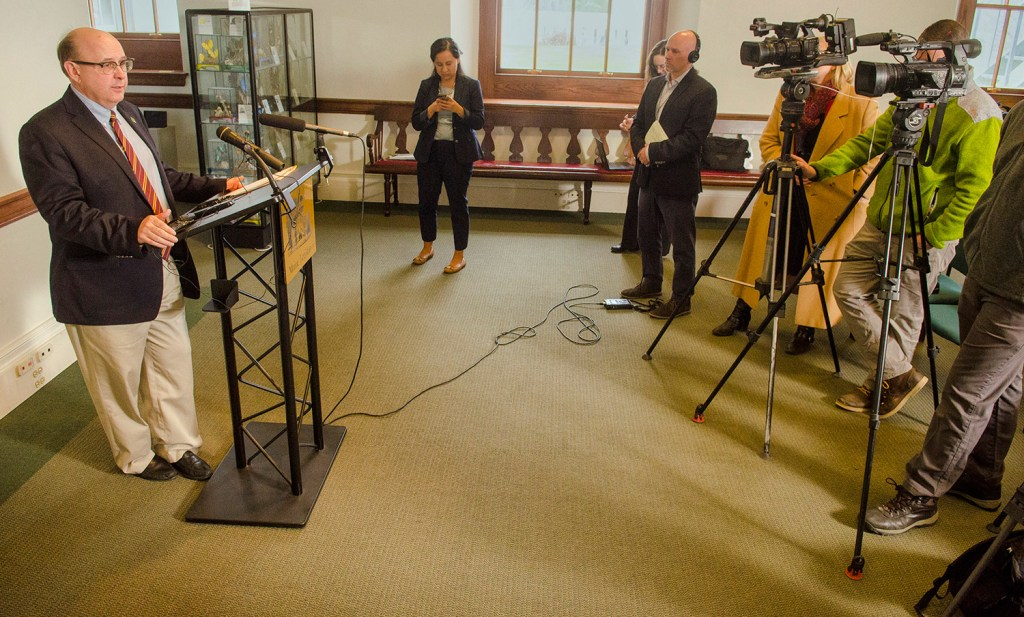 Secretary of State Matt Dunlap talks to reporters about the Maine Supreme Judicial Court's ruling on ranked-choice voting on Wednesday at the Maine State House in Augusta.