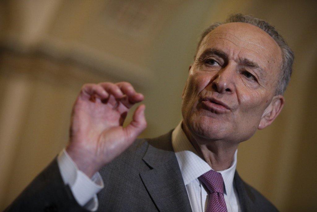 Senate Minority Leader Chuck Schumer, D-N.Y., during a news conference after a Senate Democratic weekly luncheon meeting at the U.S. Capitol in Washington on May 8.