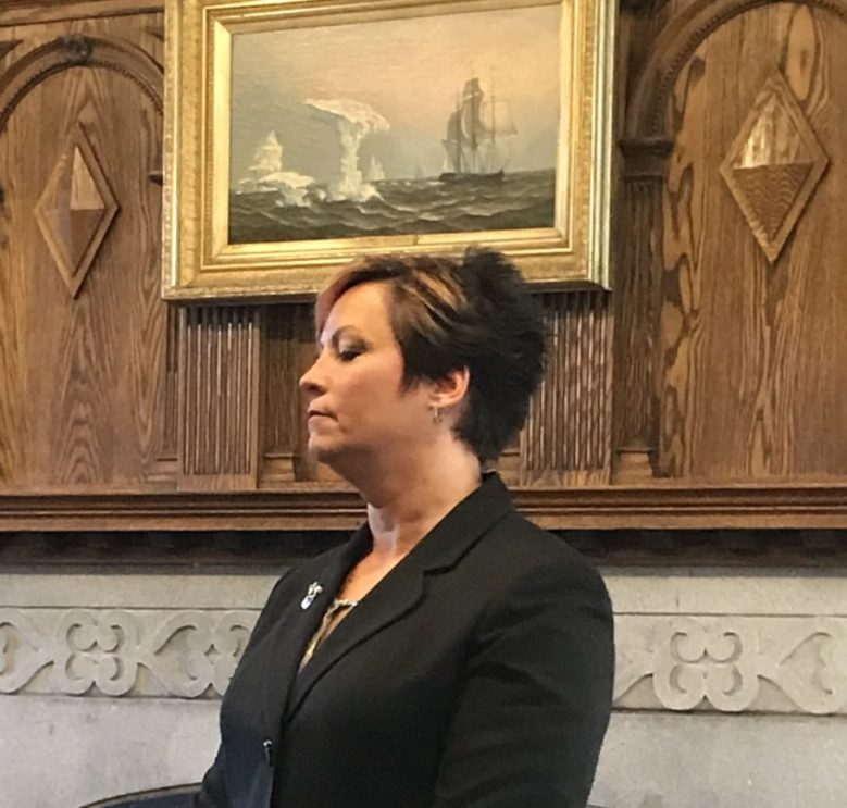 Christine Landes, who has worked as town manager in Bethel for nearly four years, speaks Monday with Gardiner officials as part of an interview process for the city manager position.