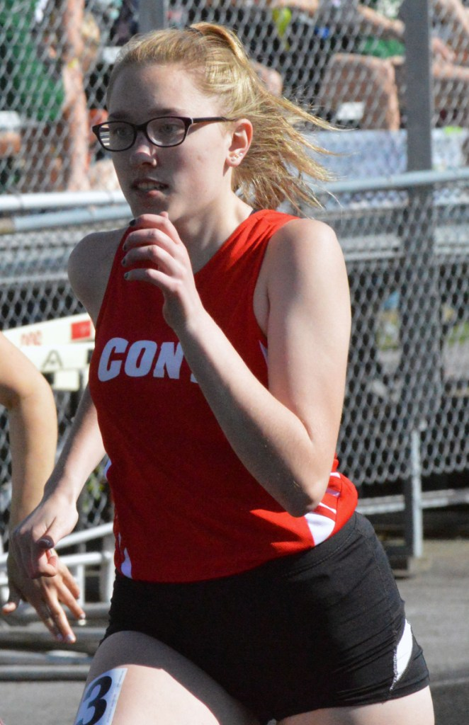 Cony's Hannah Lee runs the 100 meter dash during a Kennebec Valley Athletic Conference meet Monday.
