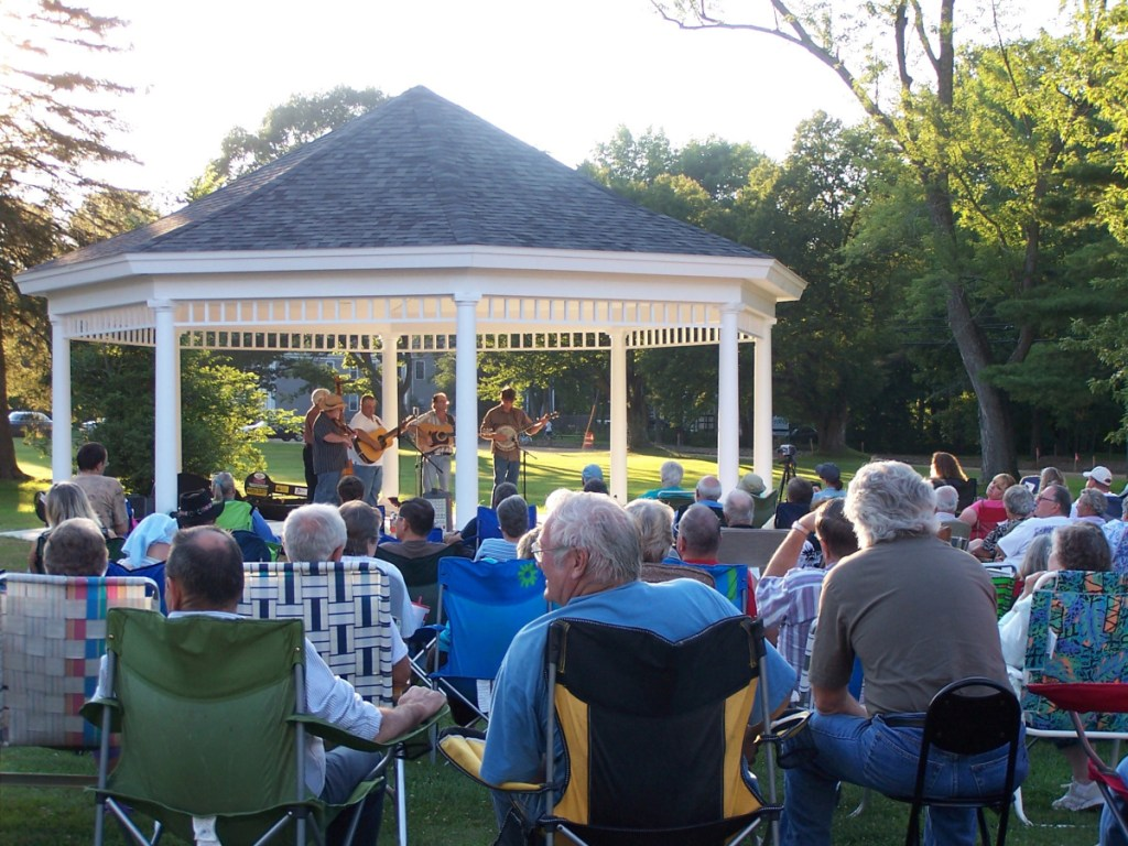 A typical night at the Gazebo with bluegrass music.