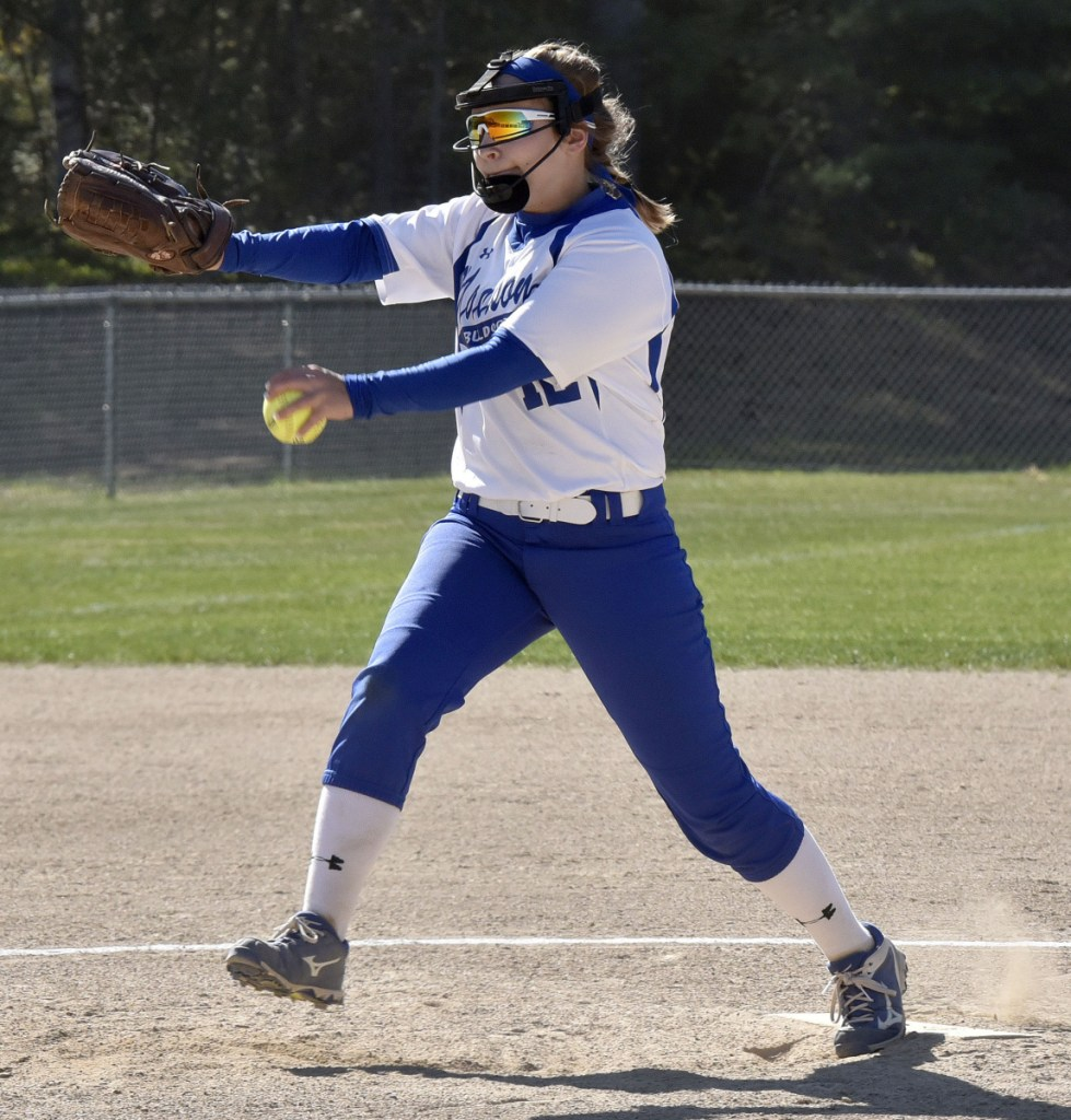 Madison pitcher Lauria LeBlanc delivers a pitch against Oak Hill during a Mountain Valley Conference game Monday afternoon in Madison.
