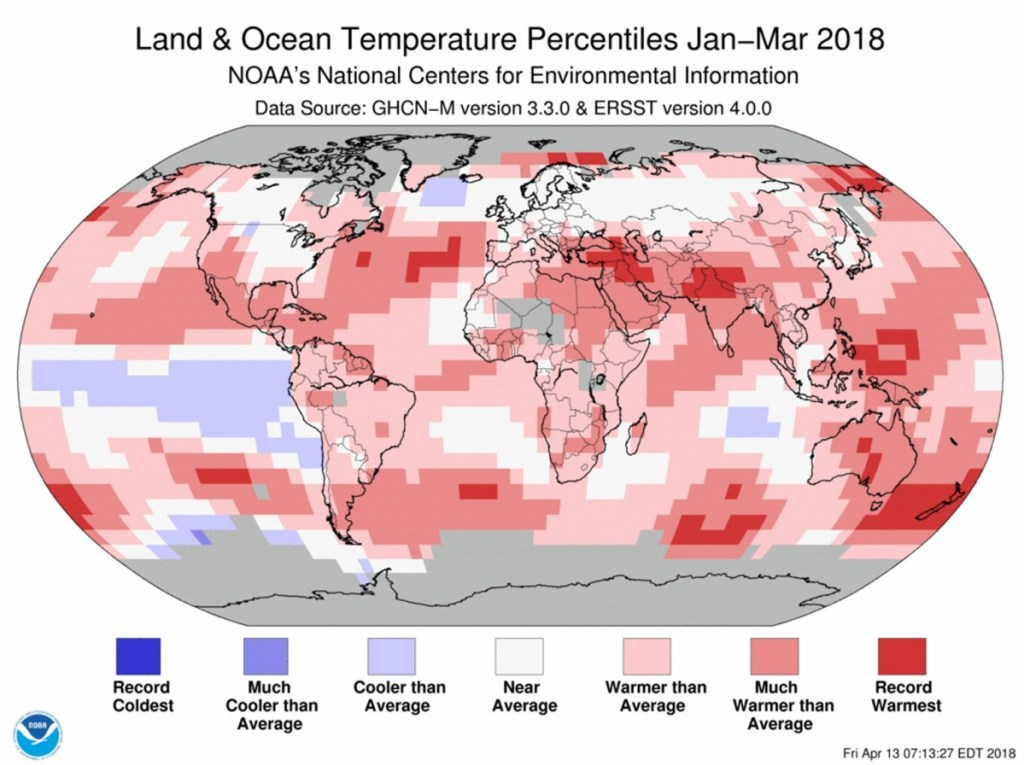 A graphic shows land and ocean temperatures from January to March of this year.