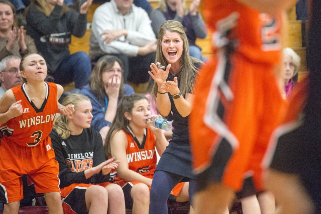 Winslow head coach Lindsey Withee cheers on her team as they play against Maine Central Institute in a Kennebec Valley Athletic Conference Class B game last season in Pittsfield. Withee resigned from her post Wednesday.