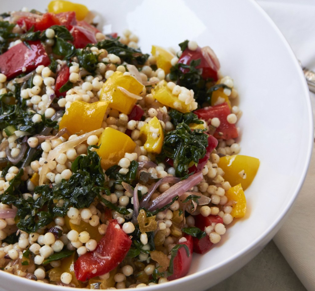 Israeli couscous, chard and bell peppers. Couscous makes a great base for a salad or side.