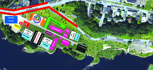 Kennebec River Days map of Mill Park. There will be handicap parking in the Mill Park parking lot.  Additional parking will be throughout downtown. A shuttle will be available to take attendees to and from the event.