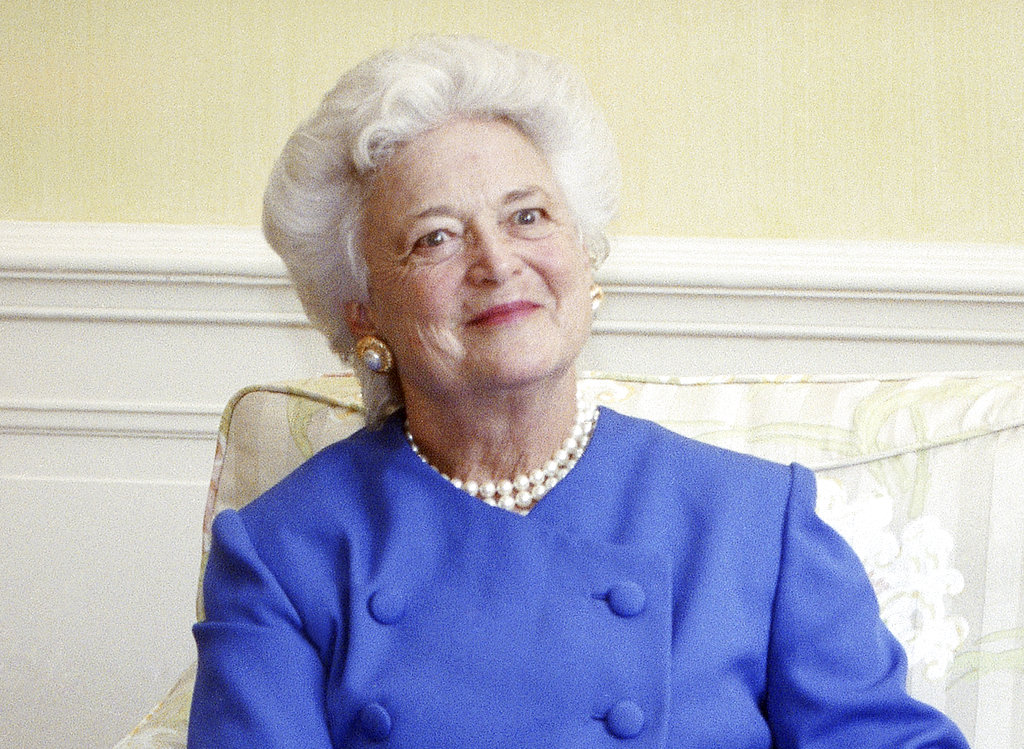 "Barbara Bush appears at the White House in 1990. Her widely praised 1990 commencement address at Wellesley College is being released as a book, titled  ""Your Own True Colors,"" on Tuesday. An audio edition of the speech will be published the same day. The former first lady died in April at age 92."