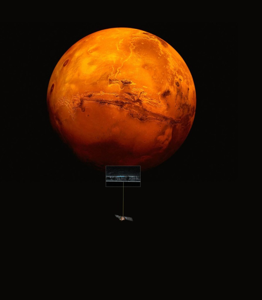 An artist's impression of the Mars Express spacecraft probing the southern hemisphere of the planet.