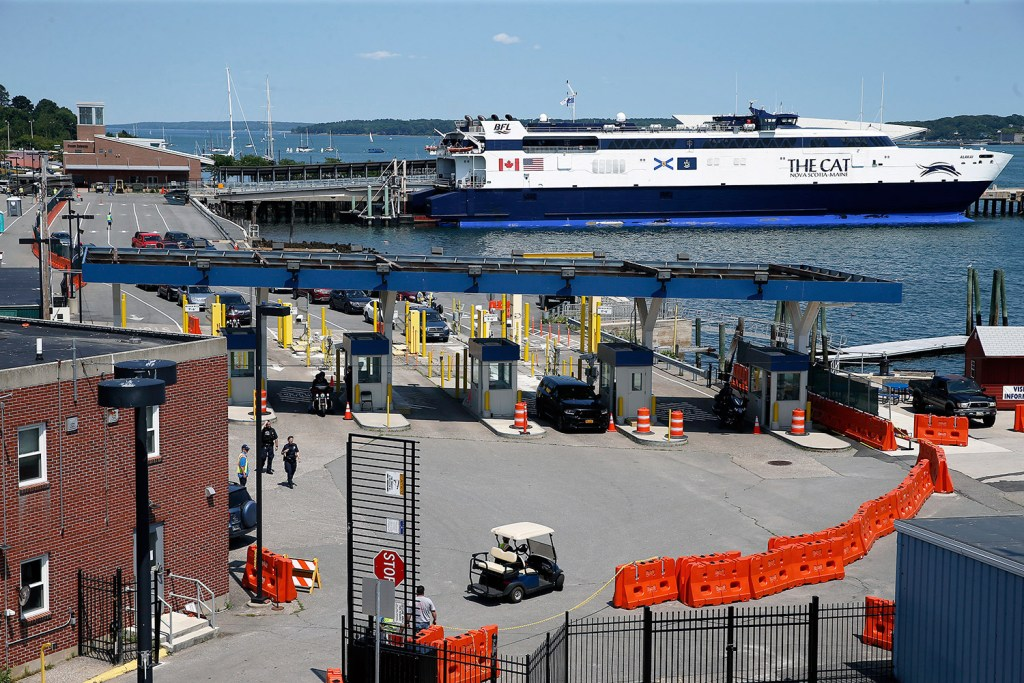 Bay Ferries' high-speed Cat is shown moored on the Portland waterfront in July. Next summer, the ship will dock in Bar Harbor.