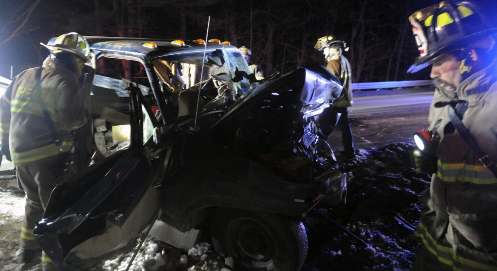 Firefighters check pickup trucks that collided on Jan. 4, 2016, on Route 9 in Chelsea, injuring three people. All the victims had to be extricated from the vehicles, police said, to be treated for multiple, life-threatening injuries.