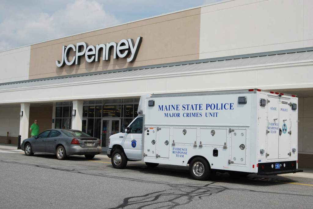 Police investigate a burglary at the J.C. Penney store in Rockland September 2015. Three men were charged in a string of burglaries to businesses in several counties.
