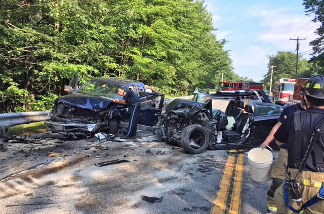 Scene of the multi-vehicle crash on Route 302 in Westbrook on Friday morning.