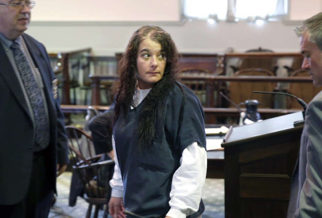 Shawna Gatto, 43, of Wiscasset, enters Lincoln County Superior Court on Jan. 12. She is charged with depraved indifference  murder in connection with the death of her fiance's granddaughter Kendall Chick in December 2017.