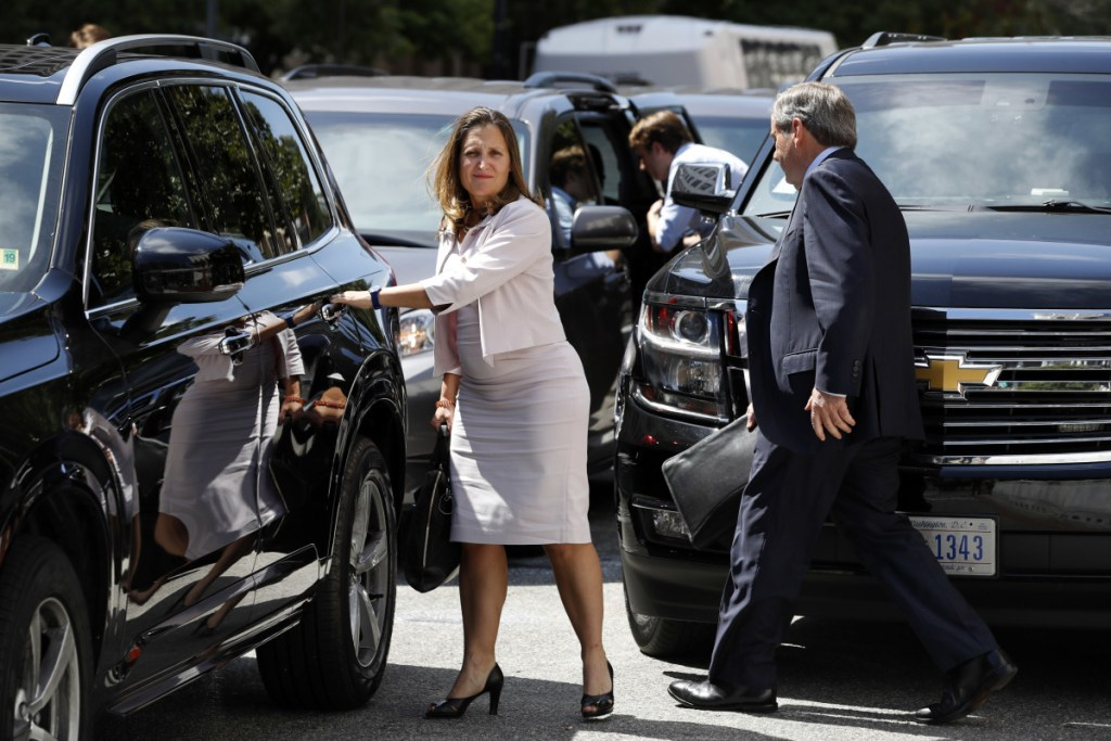 """Canada's Foreign Affairs Minister Chrystia Freeland, in Washington on Friday for trade talks, said, """"We know a win-win-win agreement is within reach,"""" despite being derailed by President Trump's comments."""