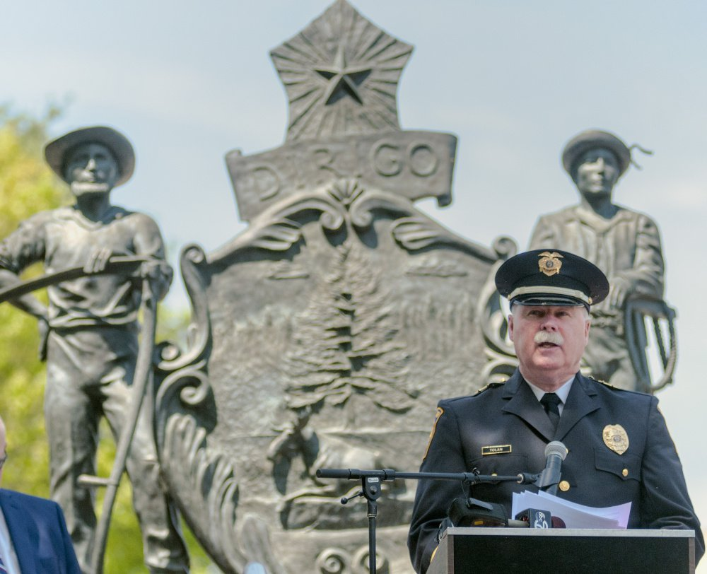 Falmouth Police Chief Edward Tolan speaks during the Law Enforcement Officers Service on Thursday in Augusta.