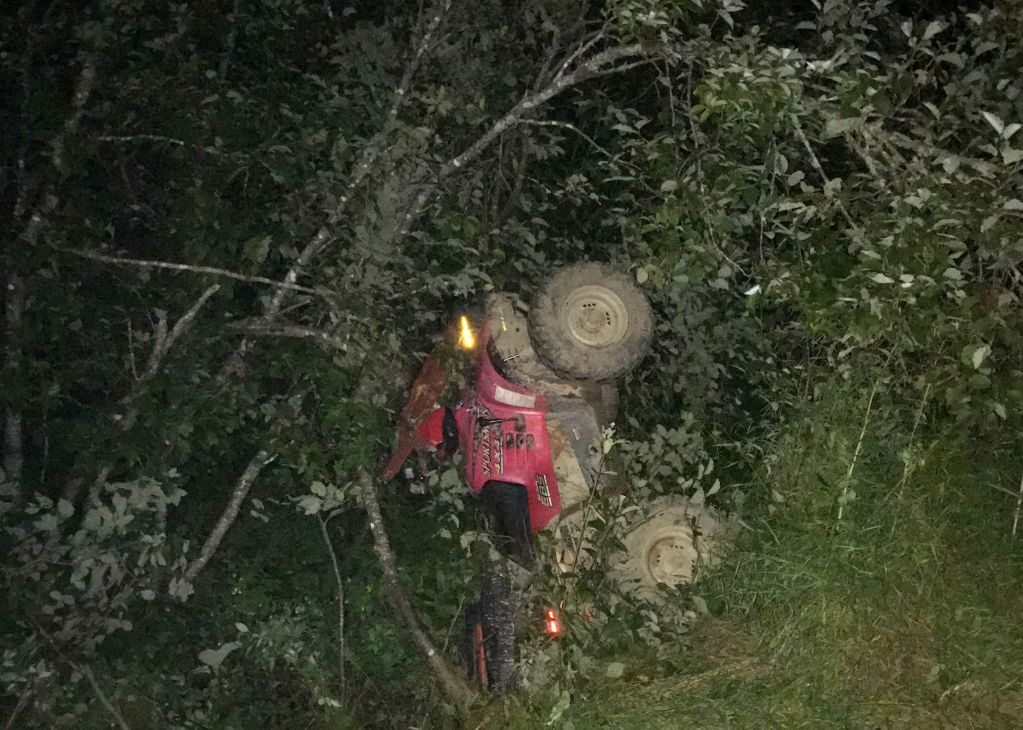 This Polaris ATV left the trail in Mars Hill, striking a steep ditch and trees. The rider was killed.