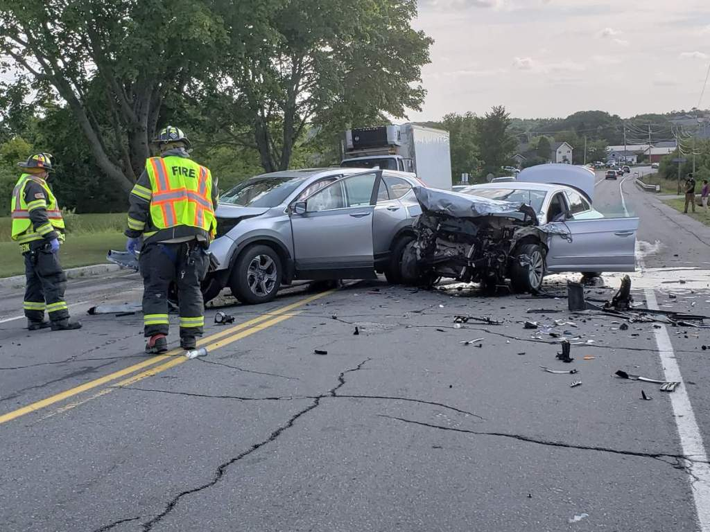 Emergency crews respond to a head-on crash on Route 1 in Rockland on Monday afternoon.