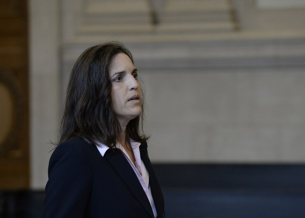 Attorney Andrea Manthorn speaks on behalf of Anthony Lord in front of the Maine Supreme Judicial Court at the Cumberland County Courthouse on Wednesday.