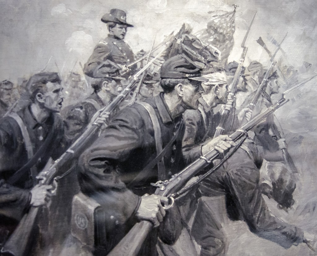 """A painting given to Augusta by accomplished artist and city native William Herbert """"Buck"""" Dunton, depicting Civil War scenes, is seen Friday at Augusta City Center."""