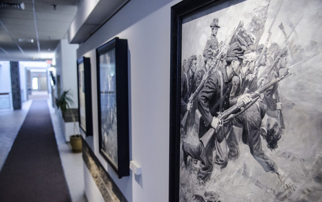 """The seven paintings given to Augusta by accomplished artist and city native William Herbert """"Buck"""" Dunton, depicting Civil War scenes, are seen Friday at Augusta City Center."""