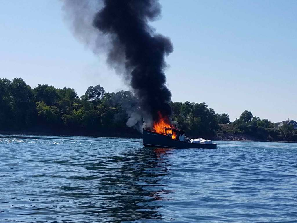 This lobster boat caught fire on Passamaquoddy Bay.