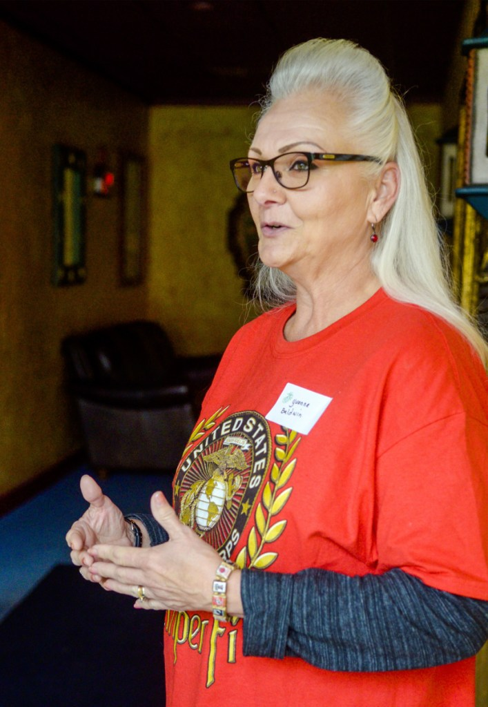 Yvonne Baldwin, of Bangor, answers questions during an interview on Saturday at Margarita's in Augusta. Baldwin served from 1982 to 1993 and achieved the rank of sergeant by the time she left the United States Marine Corps.