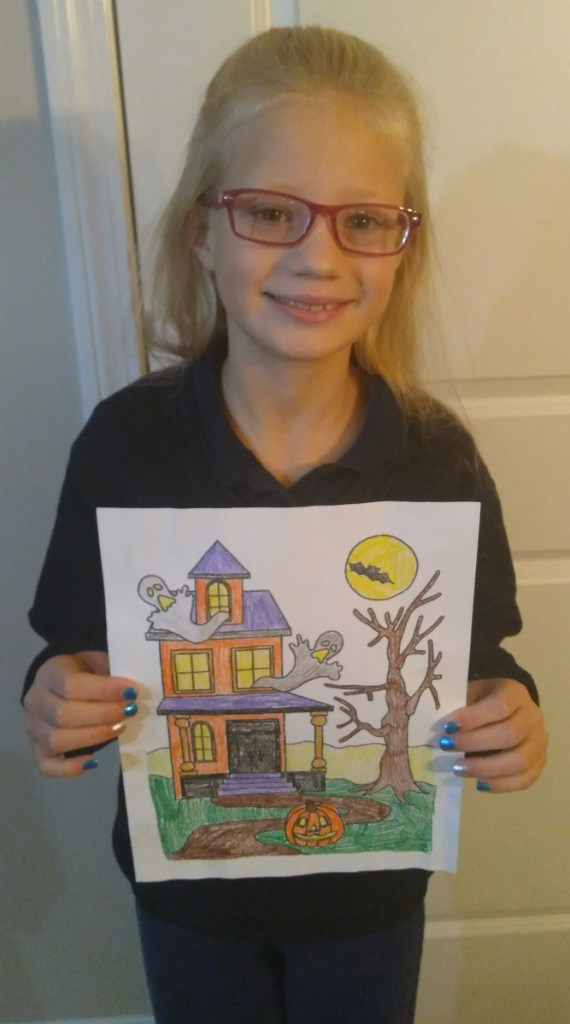Kaitlyn Christiansen, of Attleboro, Massachusetts, came in second for children 9-12 years old category of the Friends of the Belgrade Public Library's annual coloring contest.