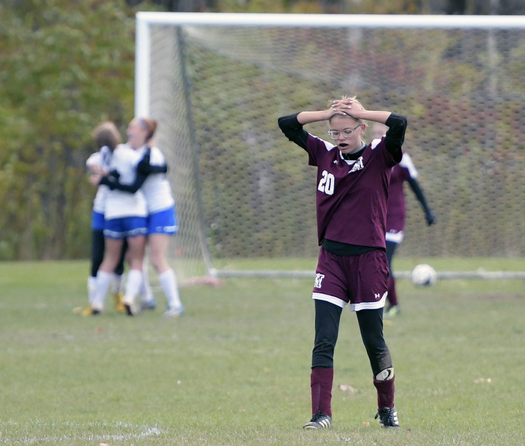 Monmouth's Abbie Crawford reacts after Sacopee Valley scored its third goal during a Class C South quarterfinal game Thursday in Monmouth.