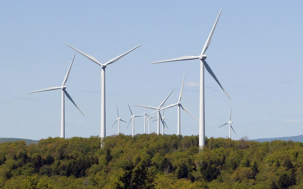 Maine is New England's top wind power producer, and the state's 16 commercial wind farms – like this one near Danforth in Washington County – supplied 20 percent of the state's net electric demand last year.