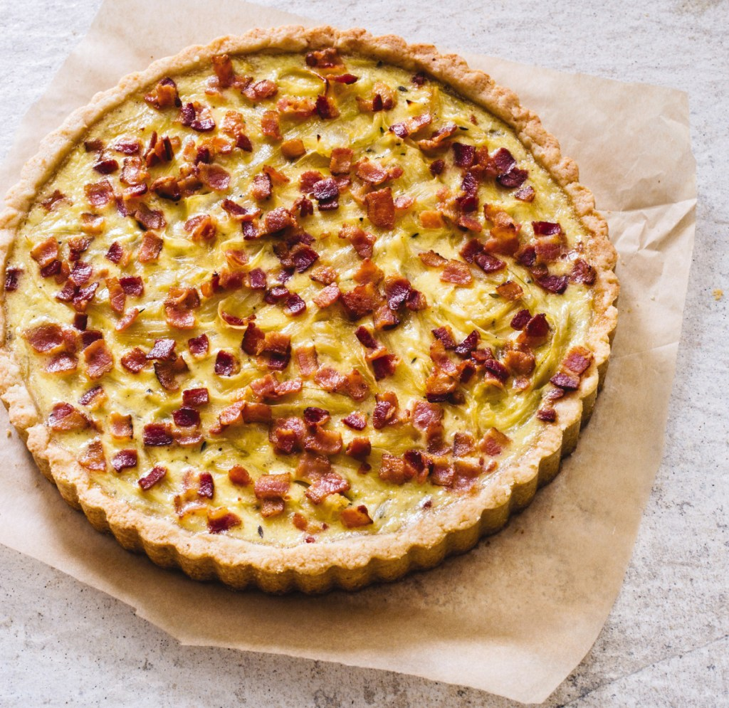 French Onion and Bacon Tart.