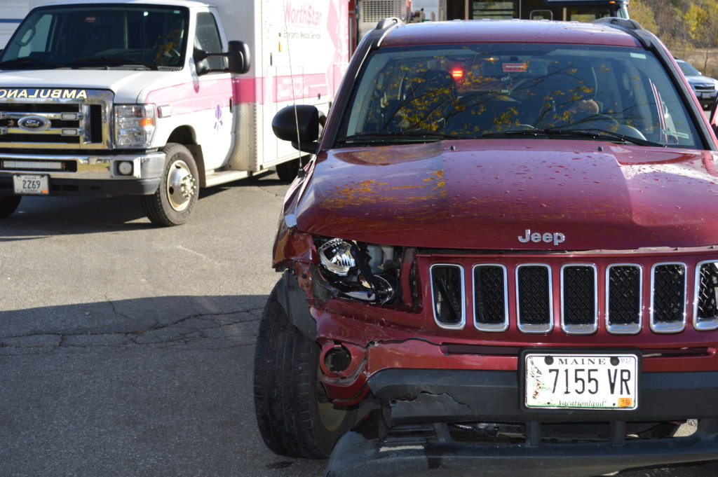 Two women complained of pain Thursday morning and were taken to Franklin Memorial Hospital in Farmington after a 2016 Jeep Compass (seen in photo) driven by Lorie Nickerson, 41, who has an East Dixfield post office box address, collided with a 2008 Honda Accord driven by Caley Miranda, 23, of Farmington at the entrance to Mt. Blue Plaza on Wilton Road in Farmington.
