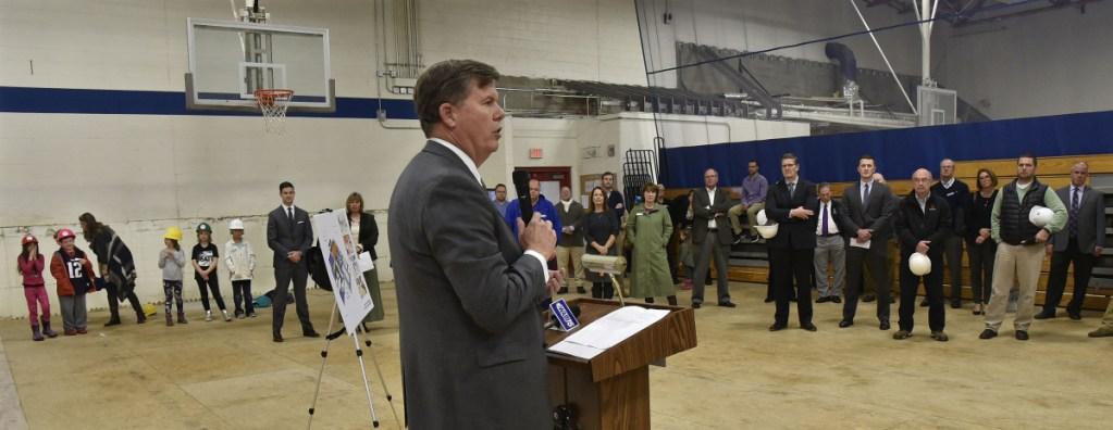 Chuck Hayes, CEO of MaineGeneral Health, addresses those gathered for the groundbreaking ceremony for the Alfond Youth Center Wellness project in Waterville on Thursday. The $6.12 million project includes a family wellness center, an upgrade of the facility's gymnasiums, an indoor track, a kitchen and an expanded after-school program.