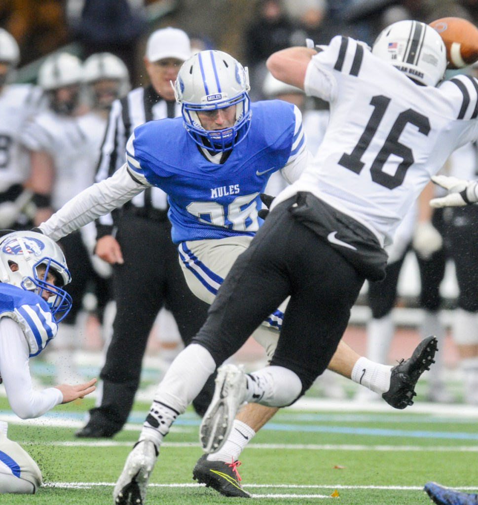 Colby kicker Walter Thilly kicks a field goal against Bowdoin on Saturday in Waterville.
