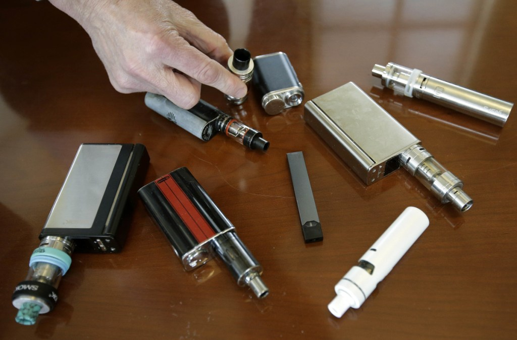 Vaping devices that were confiscated from students in such places as restrooms or hallways at a school in Massachusetts in April.