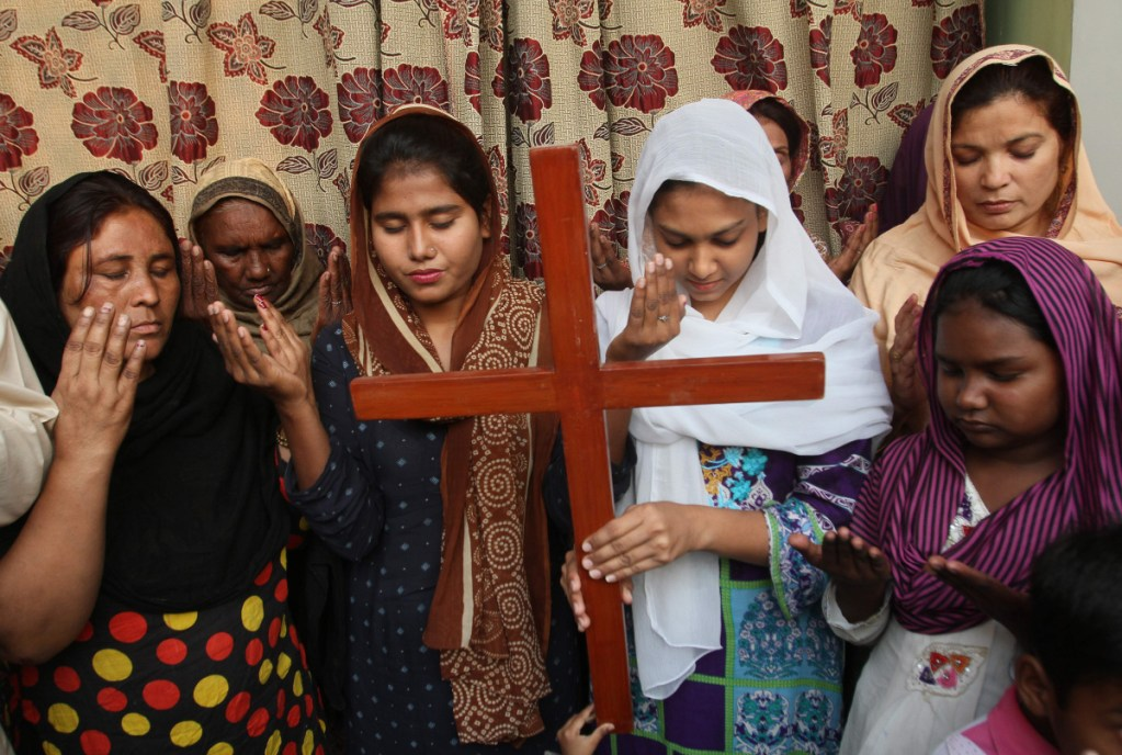 Pakistani Christians pray for Aasia Bibi, a Catholic mother of five who had been on death row since 2010 accused of blasphemy, in Multan, Pakistan, on Oct. 31.