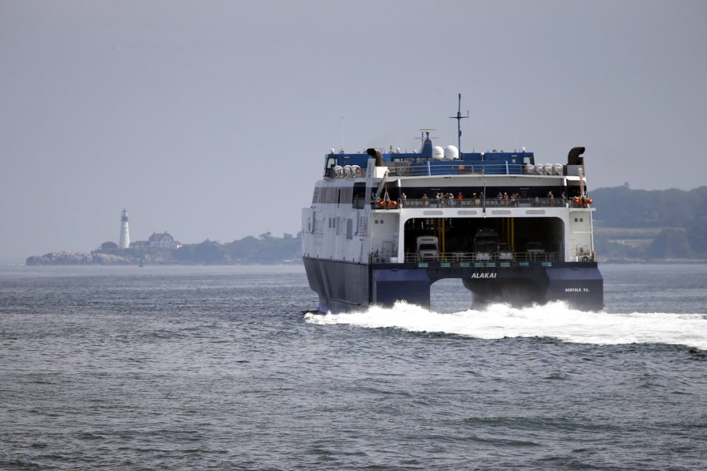 The Cat motors out of Portland Harbor on its way toward Yarmouth, Nova Scotia, in July 2017.