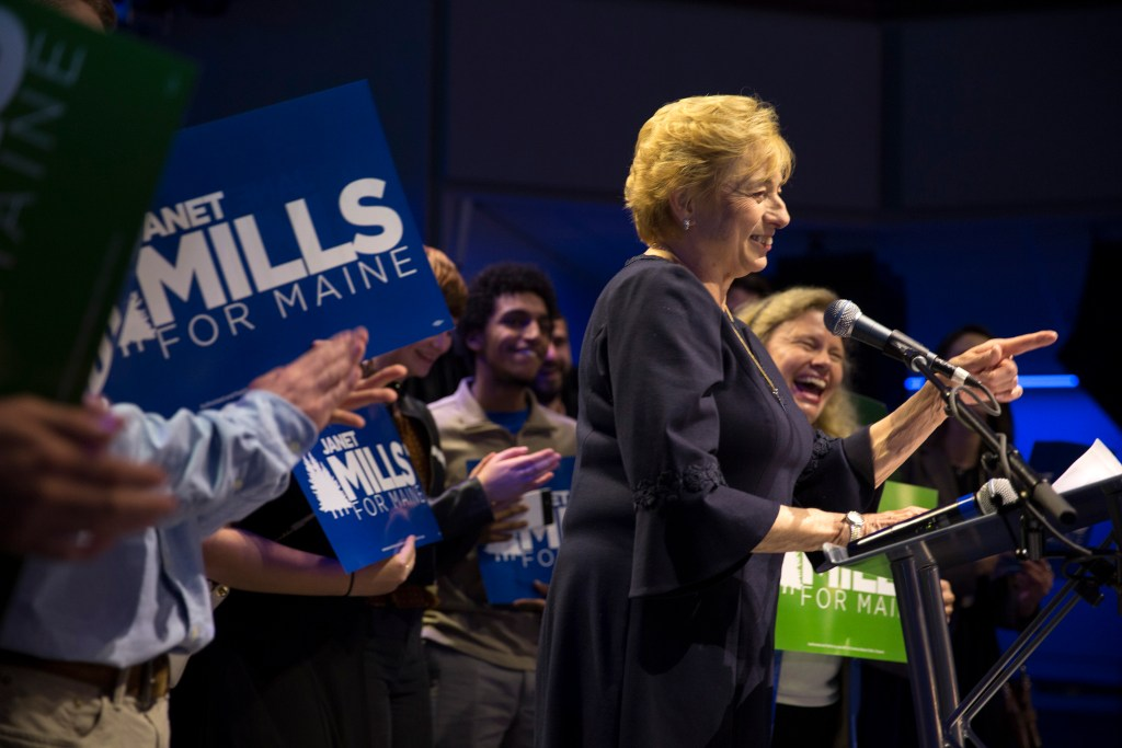 Newly elected governor of Maine Janet Mills gives her victory speech at the Maine Democrats election night party for Mills and Rep. Chellie Pingree at Aura in Portland on Tuesday, November 6, 2018.
