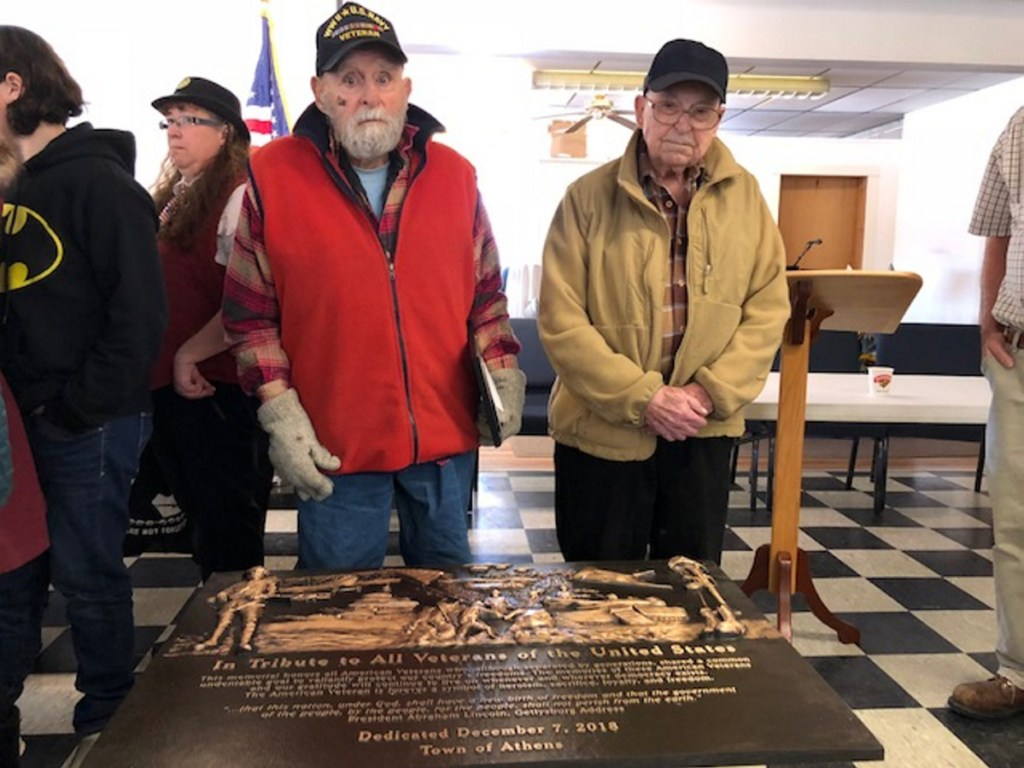 """Laurel """"Bill"""" Williams, left, and Victor Lister, both 98 and veterans of World War II, were honored recently for their service by the Athens American Legion Post 192."""