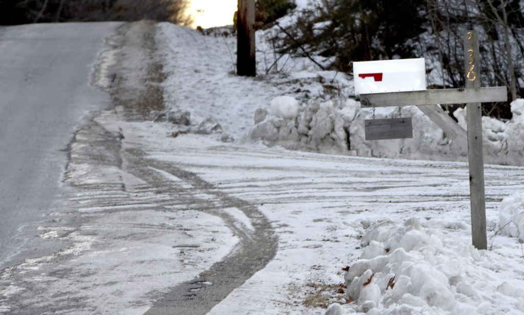 A mailbox along the Morrill Road in China is set well off the roadway. China's Select Board was deciding whether to adopt a policy not to reimburse residents for mail boxes damaged or destroyed by its snow plows or other equipment Monday night.