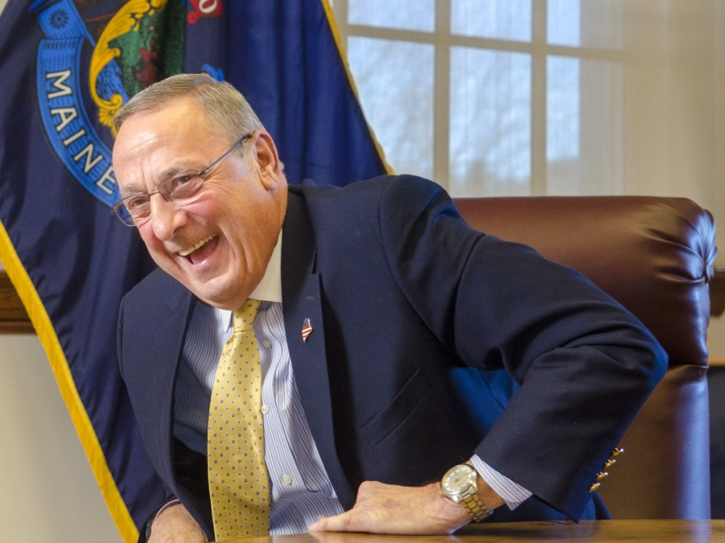 Gov. Paul LePage speaks during an interview with the Morning Sentinel on Tuesday in the Cabinet Room of the Maine State House in Augusta.