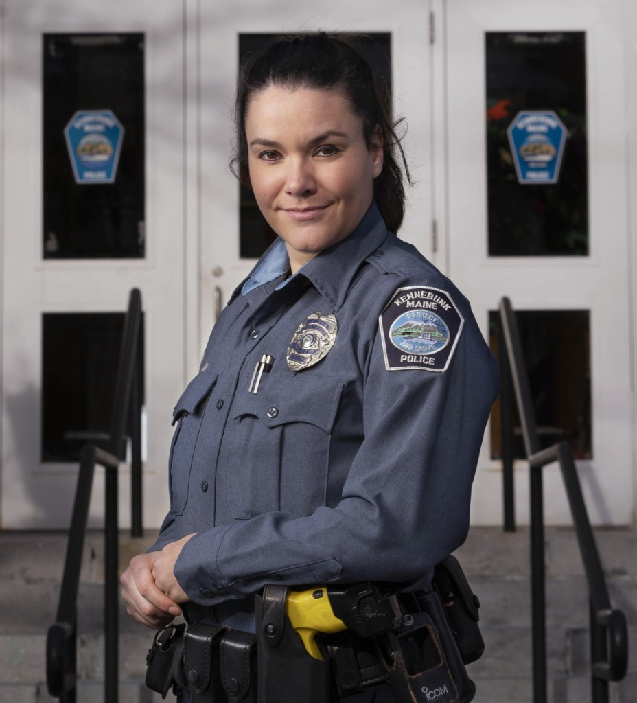 """Kennebunk police Officer Kaitlyn Sawyer says her recovery coach training helped her """"take that big, deep breath and be empathetic."""""""