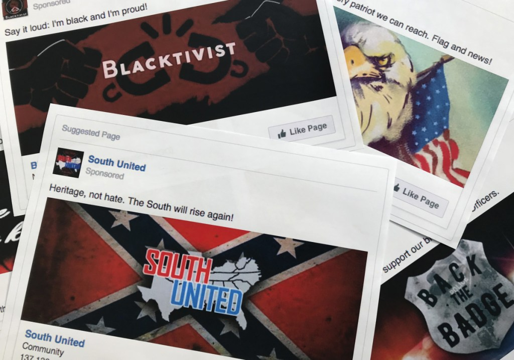 Printouts show some of the Facebook ads linked to a Russian effort to disrupt the American political process and stir up tensions in 2016. A study looked at which online users are the most likely to share fake information.