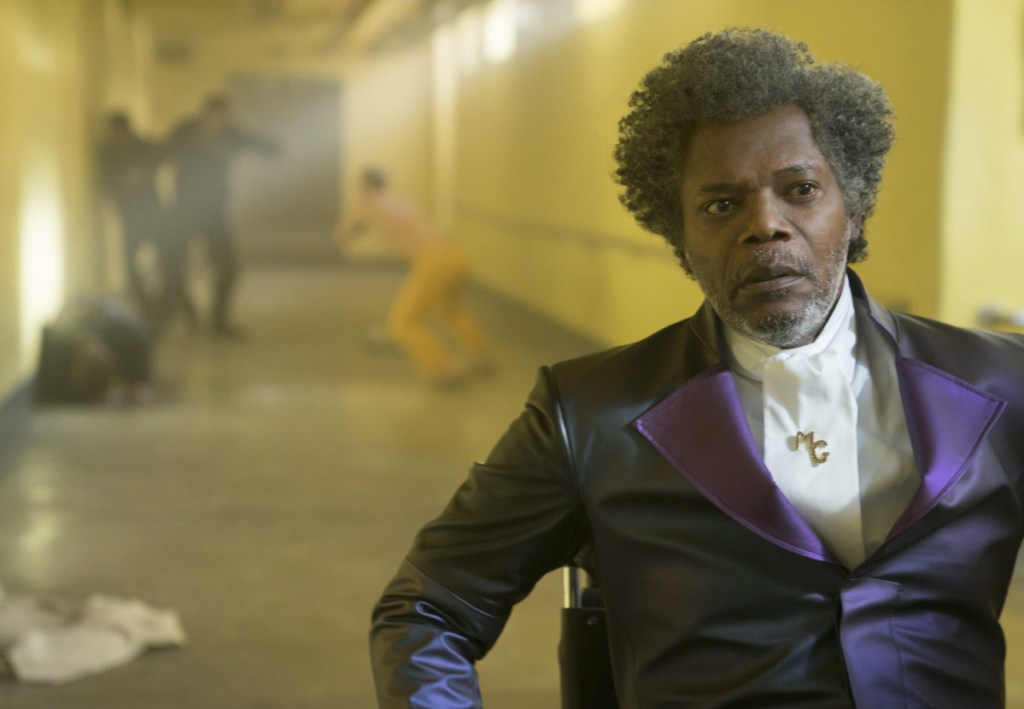 """In image released by Universal Pictures, Samuel L. Jackson appears in a scene from M. Night Shyamalan's """"Glass."""""""