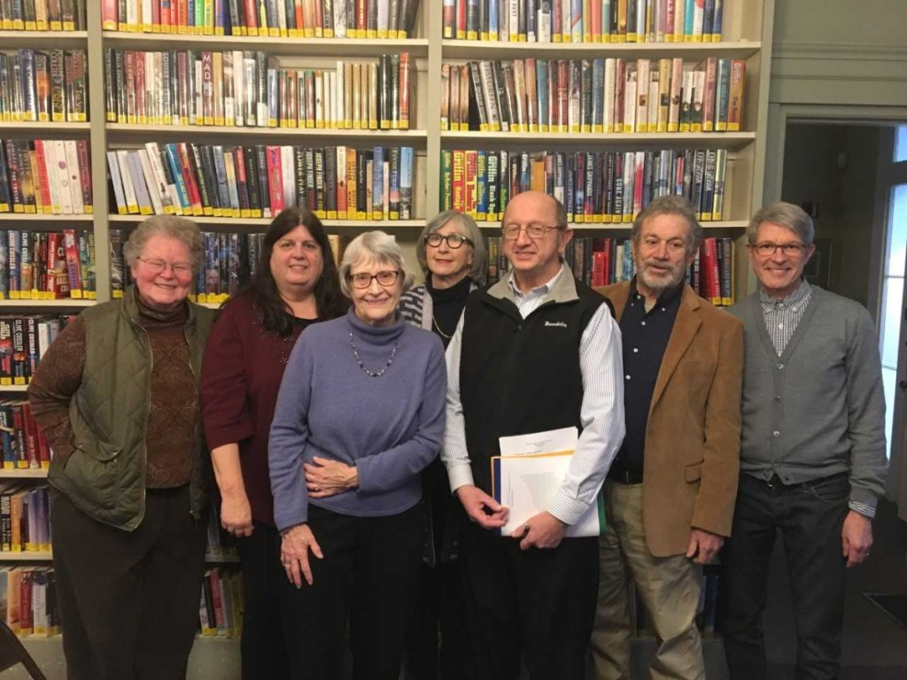 2019 Board of Trustees of Wiscasset Public Library from left are Cheryl Rust, Linda Bleile, Cindy Fischer, Sally Gemmill, Tom Boudin, Richard Vitz and Greg Uthoff. Not pictured are Sandra Crehore and Kris Niederlitz.