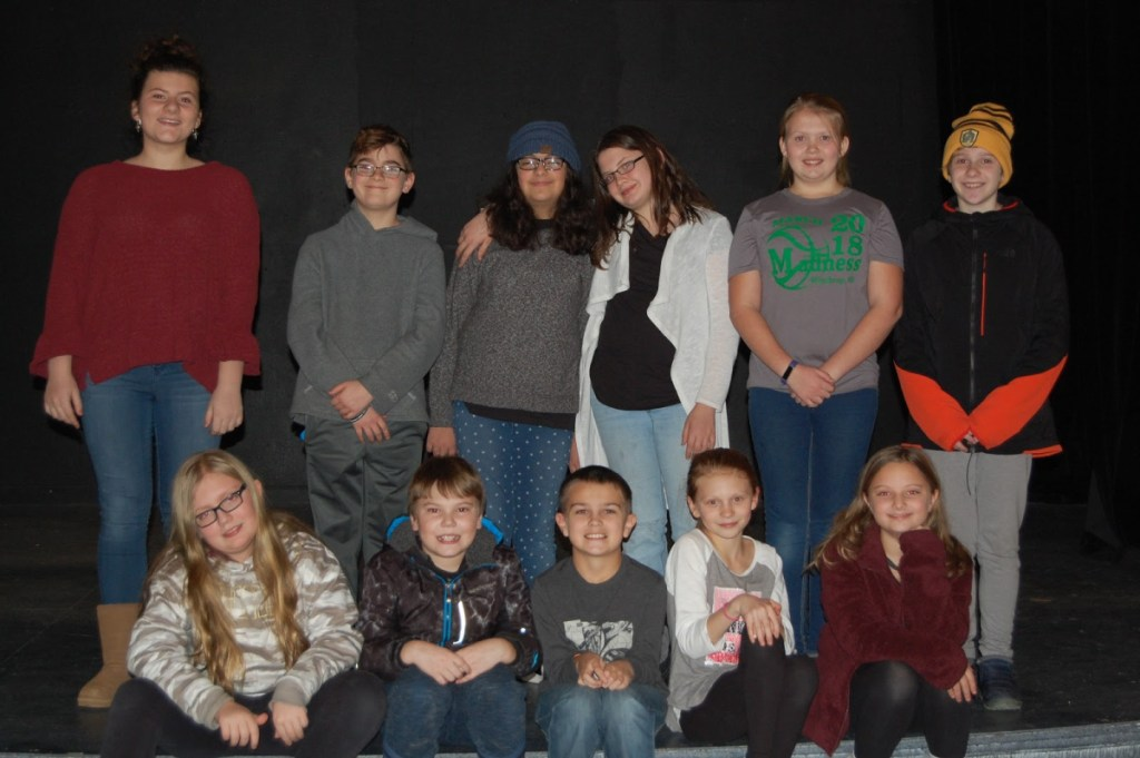 The Monmouth Community Players will host The Great American Talent Show Feb. 22 and 23 at Cumston Hall in Monmouth. The cast includes, in front, from left, Riley Fyfe, Brady Black, Cole Montgomery, Juliann Fylstra and Greta Barnes-Bukher. In back, from left are Amara Beganny, Brock Rancourt, Mila Barnes-Bukher, Hannah McAdam, Caroline Corgan and Anna Whitestone. Not pictured are Nicholas Harper, Josie Charland and Greer Slater.