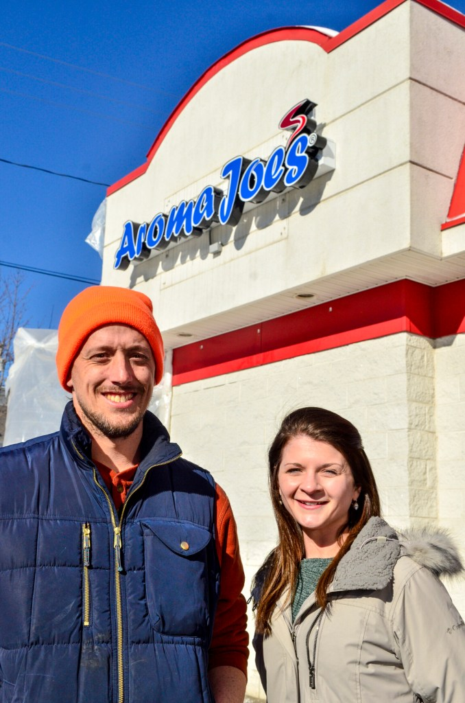Kennebec Journal photo by Joe Phelan Steve Pracher, left, and Jessica Pray at the Aroma Joe's under construction on Jan. 31 in Augusta.