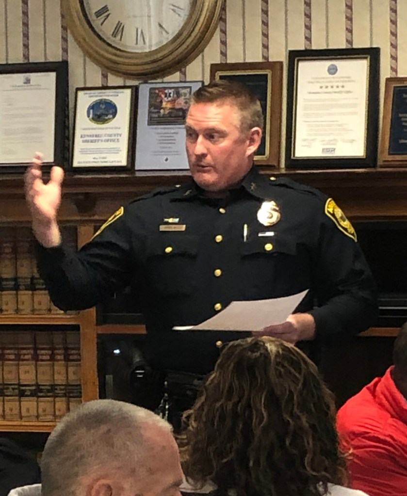 Augusta police Chief Jared Mills talks during a meeting about law enforcement dispatching options on Feb. 14 in Augusta.